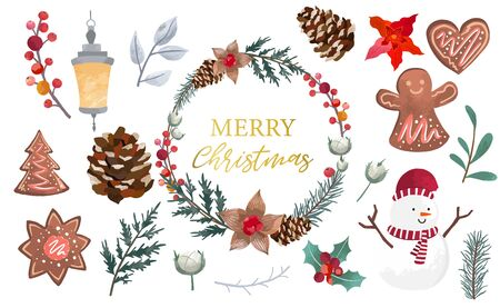 Watercolor Christmas object collection with christmas tree, snowman, wreath. Vector illustration