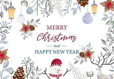 Christmas background set with holly leaves, reindeer, snowman. Editable vector illustration for New year invitation, postcard and website banner