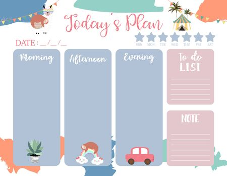 cute today animal plan background with sloth, llama, cactus. Vector illustration for kid and baby. Editable element