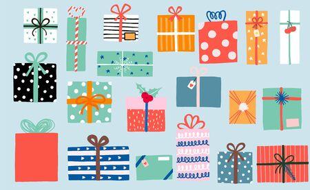 Kolekcja obiektów imprezowych ze wstążką, pudełkiem prezentowym, wiśnią, różem, pomarańczą. Ilustracja wektorowa ikony, logo, naklejki, do druku. Edytowalny element