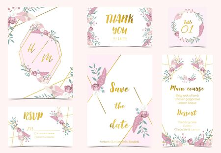 Pink green gold geometry wedding invitation with rose,flower,heart and leaves.Vector birthday invitation for kid and baby.Editable element Stock Illustratie