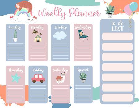 cute weekly planner background with sloth,rainbow,llama,cloud.Vector illustration for kid and baby.Editable element Vektoros illusztráció