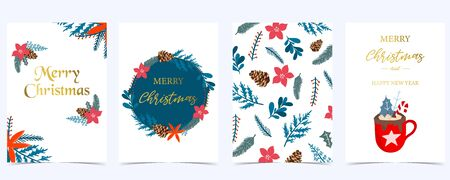 Collection of Christmas background set with holly leaves, flower, wreath. Editable vector illustration for New year invitation, postcard and website banner