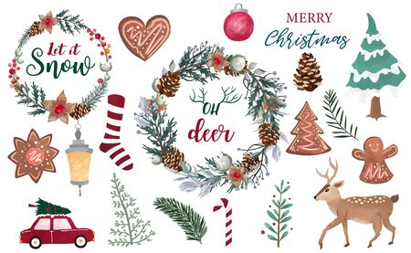 Watercolor Christmas object collection with pine cone, snowman, wreath. Vector illustration