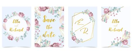 Pink blue gold geometry wedding invitation with rose,flower,heart and leaves.Vector birthday invitation for kid and baby.Editable element Illustration
