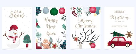 Collection of Christmas background set with holly leaves,flower,car.Editable vector illustration for New year invitation,postcard and website banner