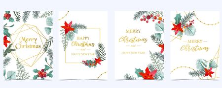 Collection of Christmas background set with holly leaves,flower,geometric.Editable vector illustration for New year invitation,postcard and website banner
