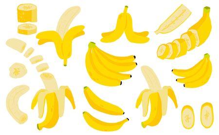Śliczna kolekcja obiektów owocowych bananów. Całość, pokrojona na pół, pokrojona na kawałki banana. Ilustracja wektorowa ikony, naklejki, do druku