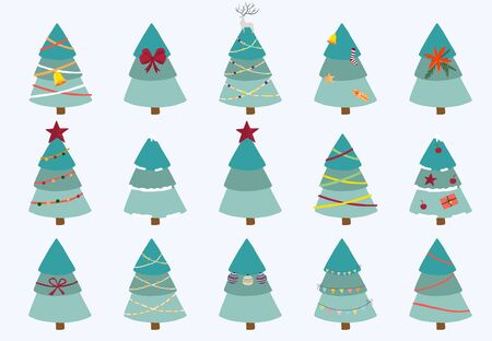 Christmas tree object collection.Vector illustration for icon,sticker,printable.Editable element