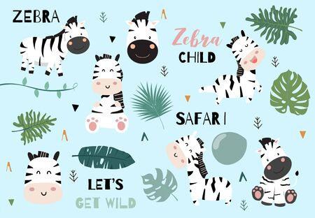 Cute animal object collection with zebra and leaves.Vector illustration for icon,sticker,printable.Include wording lets get wild