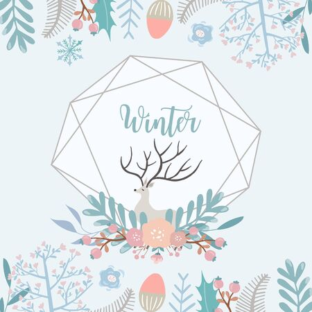 Collection of winter background set with leaves,flower,leaves,frame.Editable vector illustration for birthday invitation,postcard and website banner Ilustrace