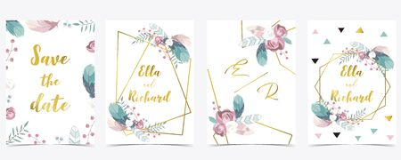 Pink white gold geometry wedding invitation with rose,flower,heart and leaves.Vector birthday invitation for kid and baby.Editable element