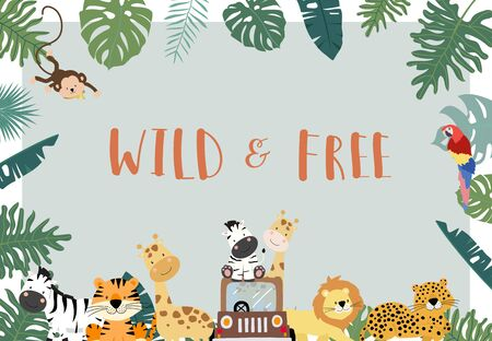 Green,gold collection of safari background set with lion,monkey,giraffe,zebra.vector illustration for birthday invitation,postcard,logo and sticker.Wording include wild and free