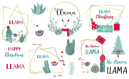 Animal object collection with llama,cactus.Vector illustration for icon,sticker,printable.Editable element.No drama llama Ilustrace