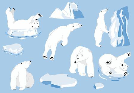 Caractère simple d'ours blanc. Caricature de doodle de caractère d'illustration vectorielle