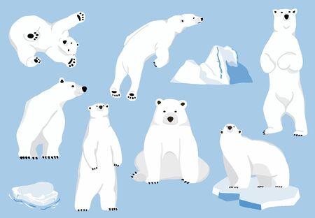 Simple white bear character.Vector illustration character doodle cartoon Illusztráció