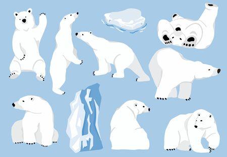Caractère simple d'ours blanc. Caricature de doodle de caractère illustration vectorielle