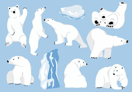 Simple white bear character. Vector illustration character doodle cartoon