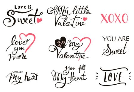 Happy Valentine's Day typography background with heart. The wording are my little valentine, you are sweet, love you more, xoxo 版權商用圖片 - 137747386