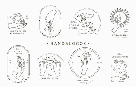Beauty boho collection with hand, rose, crystal, moon, sun, star. Vector illustration for icon, sticker, printable and tattoo 向量圖像