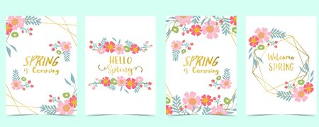 Collection of spring background set with pink flower, green leaves, geometric. Editable vector illustration for website, invitation, postcard and sticker. Include wording welcome spring, hello spring