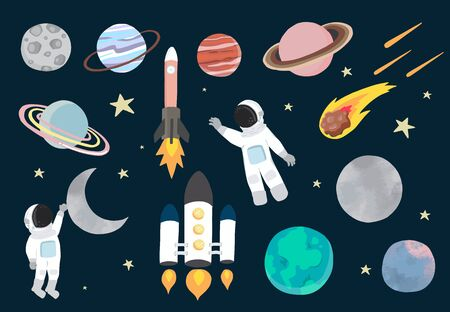 Cartoon object space collection with planet, astronaut, moon, sun. Vector illustration for icon, sticker, printable, postcard and invitation