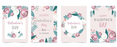 Collection of love background set with leaves, flower, rose. Editable vector illustration for Valentine's day invitation, postcard and website banner 向量圖像
