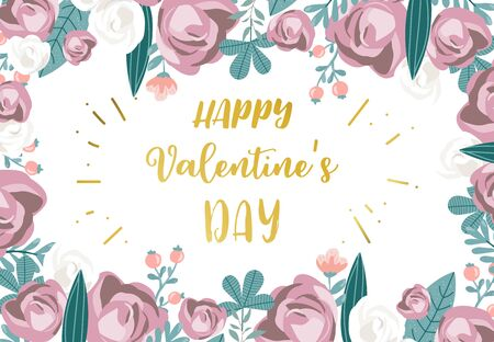 Collection of love background set with leaves, flower, rose. Editable vector illustration for Valentine's day invitation, postcard and website banner 版權商用圖片 - 137747488