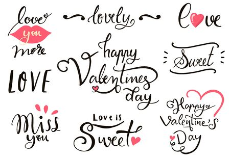 Happy Valentine's Day typography background with heart. The wording are lovely, love you more, miss you 版權商用圖片 - 137747489
