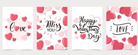 Collection of valentine's day background set with heart,balloon.Editable vector illustration for website, invitation,postcard and sticker.Wording include happy valentines day