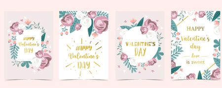 Collection of love background set with leaves, flower, couple. Editable vector illustration for Valentine's day invitation, postcard and website banner