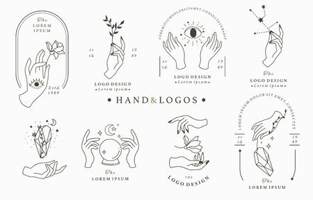 Beauty boho collection with hand, rose,crystal,moon,eye,star. Vector illustration for icon, sticker, printable and tattoo