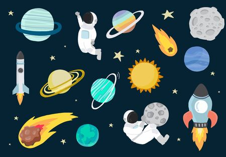 Cartoon object space collection with planet,astronaut,moon, sun.Vector illustration for icon, logo, sticker, printable, postcard and invitation 版權商用圖片 - 137747580