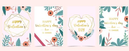 Collection of love background set with leaves, flower, ribbon. Editable vector illustration for Valentine's day invitation, postcard and website banner 向量圖像