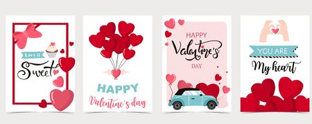 Collection of valentine's day background set with heart, balloon, car. Editable vector illustration for website, invitation, postcard and sticker