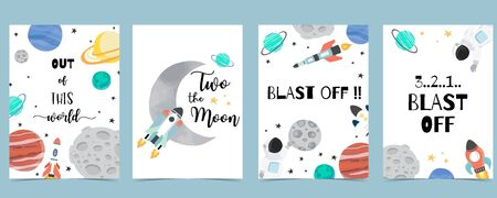 Collection of space background set with astronaut, sun, moon, star,rocket.Editable vector illustration for website, invitation, postcard and sticker.Include wording two the moon, blast off 版權商用圖片 - 137747608
