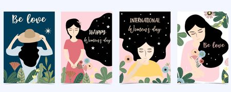 Pink green blue International Happy Women's Day with women, flower and leaves 版權商用圖片 - 137747631