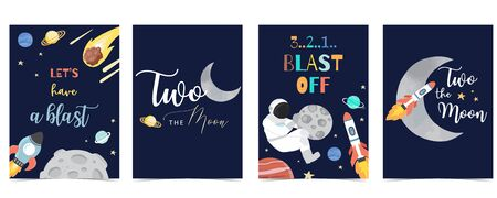 Collection of space background set with astronaut, sun, moon, star, rocket.Editable vector illustration for website, invitation, postcard and sticker. Include wording two the moon,blast off 向量圖像