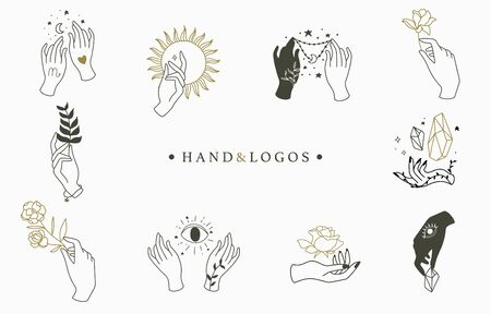 Beauty boho logo collection with hand, rose,crystal,moon,sun,star,eye.Vector illustration for icon,logo,sticker,printable and tattoo