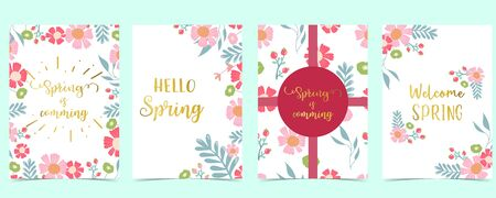 Collection of spring background set with pink flower, green leaves,geometric.Editable vector illustration for website, invitation,postcard and sticker.Include wording welcome spring, hello spring 向量圖像