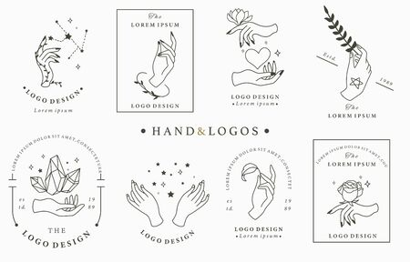 Beauty boho logo collection with hand, rose,crystal,heart,star.Vector illustration for icon,logo,sticker,printable and tattoo