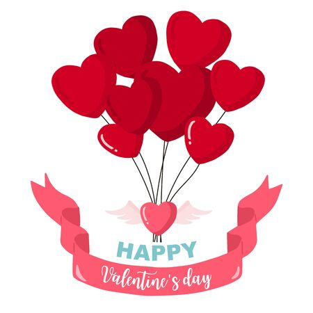 Collection of valentine's day background set with heart,balloon,ribbon. Editable vector illustration for website, invitation,postcard and sticker. Wording include happy valentines day