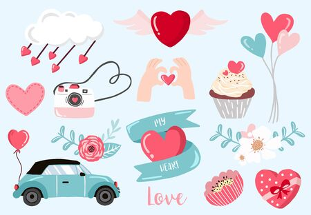 Cute object valentine collection 版權商用圖片 - 137747720