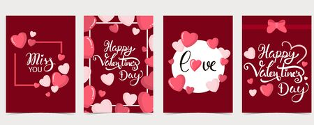 Collection of valentine's day background set with heart,balloon.Editable vector illustration for website, invitation,postcard and sticker.Wording include happy valentine's day 版權商用圖片 - 137747723