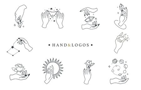 Beauty boho logo collection with hand, rose,crystal,sun,moon,star.Vector illustration for icon,logo,sticker,printable and tattoo 版權商用圖片 - 137747726