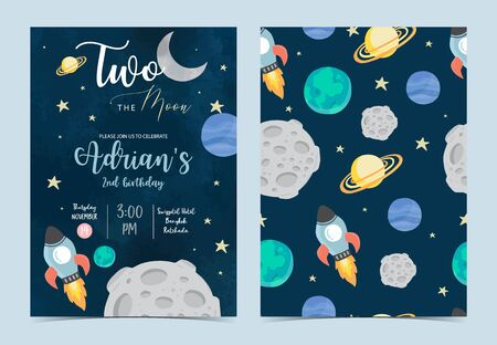 Collection of space background set with astronaut, sun, moon, star,rocket.Editable vector illustration for website, invitation,postcard and sticker.Include wording two the moon 版權商用圖片 - 137747743