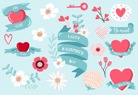 Cute object valentine collection with flower,key,ribbon.Vector illustration for icon,sticker,printable 向量圖像