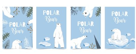 Collection of polar bear background set with ice and tree.Editable vector illustration for website, invitation, postcard and sticker