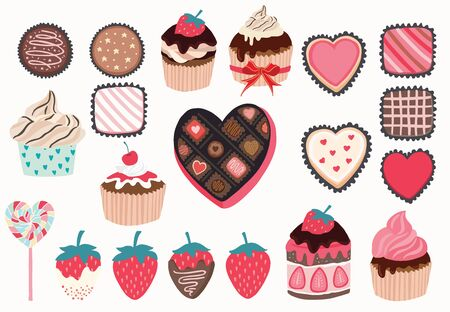 Cute object valentine collection with chocolate, strawberry, cupcake. Vector illustration for icon 版權商用圖片 - 138432477