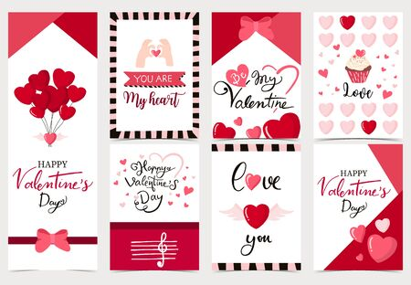 Collection of valentine's day background set with heart, cupcake, balloon. Editable vector illustration for website, invitation, postcard and sticker. Wording include you are my heart
